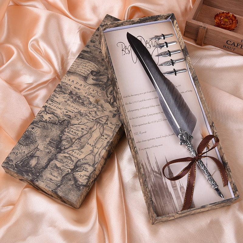 Antique Quill Feather Dip Pen Writing Ink Set Stationery Gift Box with 5 Nib Wedding Gift Quill Pen Fountain Pen Mother's Day