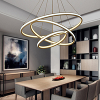 NEO Gleam High Brightness Double Glow Modern Led Chandeliers For Dining Kitchen Room Rings Aluminum White Hanging Chandelier