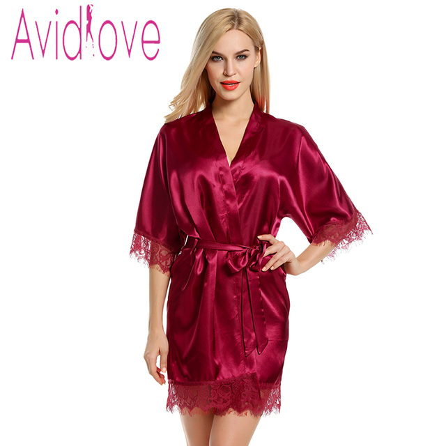 Avidlove Gown Women Short Satin Bride Robe Lace Silk Kimono Bathrobe ...