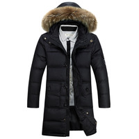 2016 New Fashion Winter Coat Men Warm Down Male Fur Hooded Long Thickening White Duck Down
