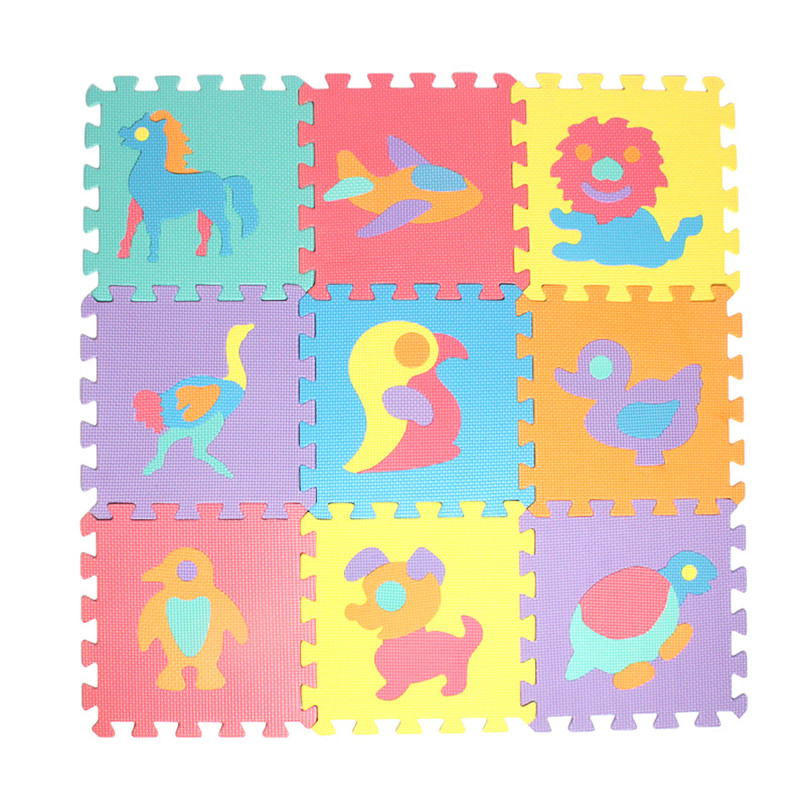 10Pcs/set 30*30cm Cartoon Animal Number Alphabet Pattern Baby Play Mat Puzzle Toys Kids Children EVA Foam Yoga Crawling Mats