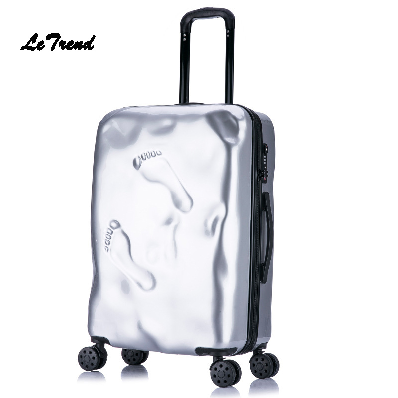 Letrend Retro Rolling Luggage Spinner Student Travel Bag PC Wheels Suitcase Trolley 20 inch Women Carry On Password Trunk