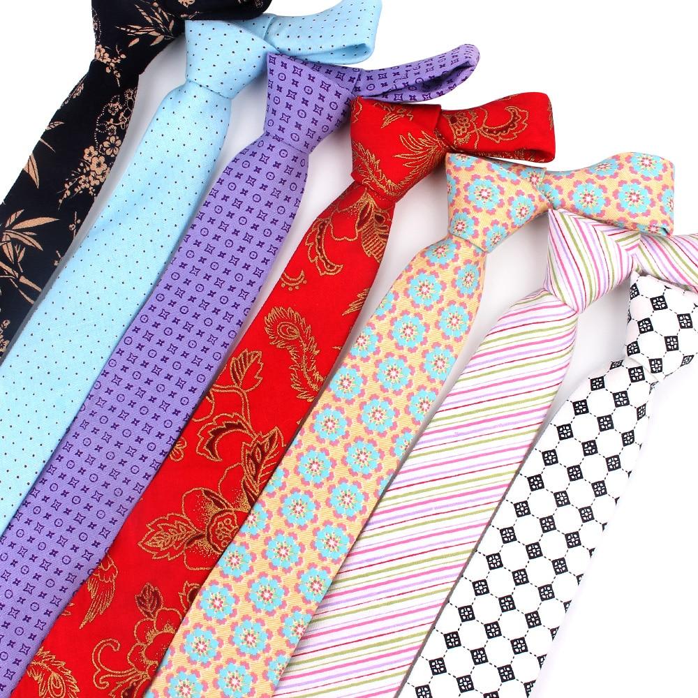 New Ties For Men Cotton Print Slim Men Necktie Suits Mens Neck Tie For Business Cravats Floral Groom Neckties
