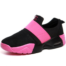 new mesh fabric girls loafers colors rose pink match slip on woman shoes air cushion sole loafers ladies lazy shoes stretch vamp