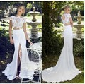 Beach 2017 Wedding Dresses Sheath Cap Sleeves Chiffon Lace Slit Open Back Wedding Gown Bridal Dress Bridal Gown Vestido De Noiva