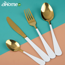 Four-piece knife fork Spoon Stainless steel  Portuguese Western food Cutlery set Polished Tableware Dinnerware sets Tea Spoon