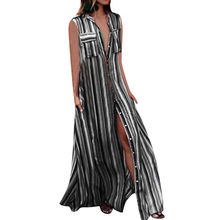 Striple beach dress Casual Button dress women summer Sleeveless Loose Party Long women's dresses vestido elbise robe 38#G6(China)