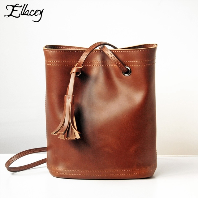 Ellacey Women Vintage Crazy Horse Leather Shoulder Bags With Tassel Leather Solid Bucket Bag High Quality Fringe Ladies Handbags