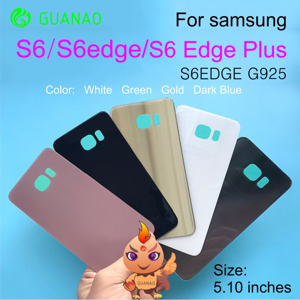 For 5.1 inch SAMSUNG S6 Back Glass Battery Cover Rear Door Housing Case Panel For SAMSUNG Galaxy S6 Edge Plus Back Glass Cover image