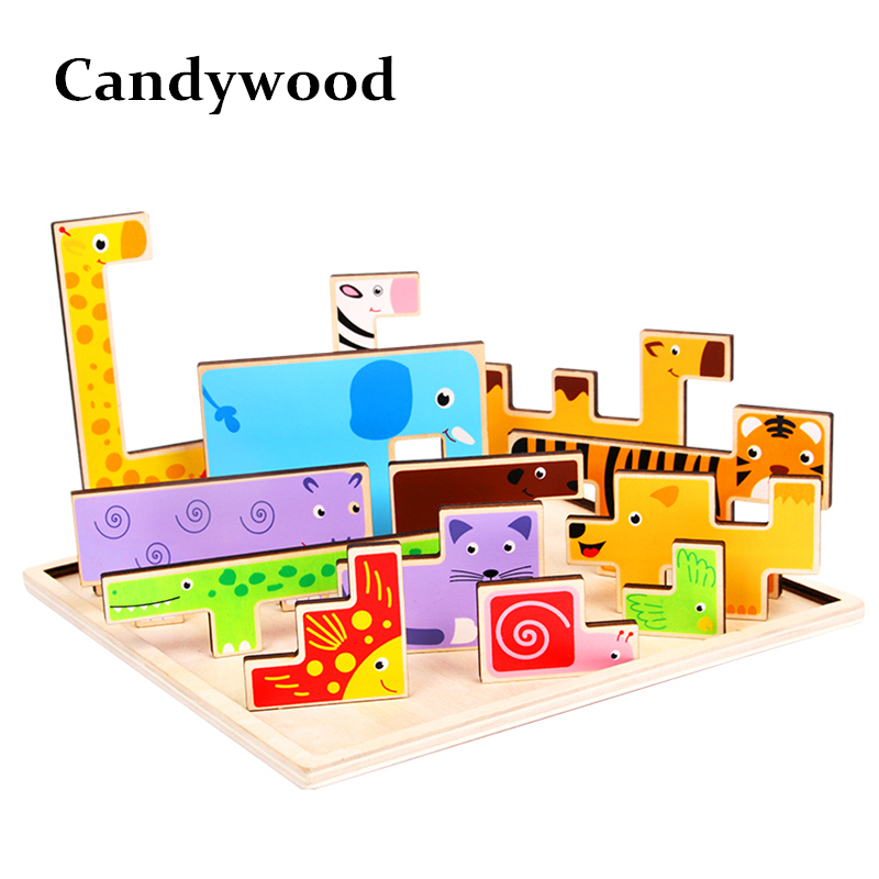 Kids 3D Puzzle Jigsaw Wooden Toys Cartoon Animals Puzzles Child Educational Toy for Children Tangram Jigsaw Board Игрушка