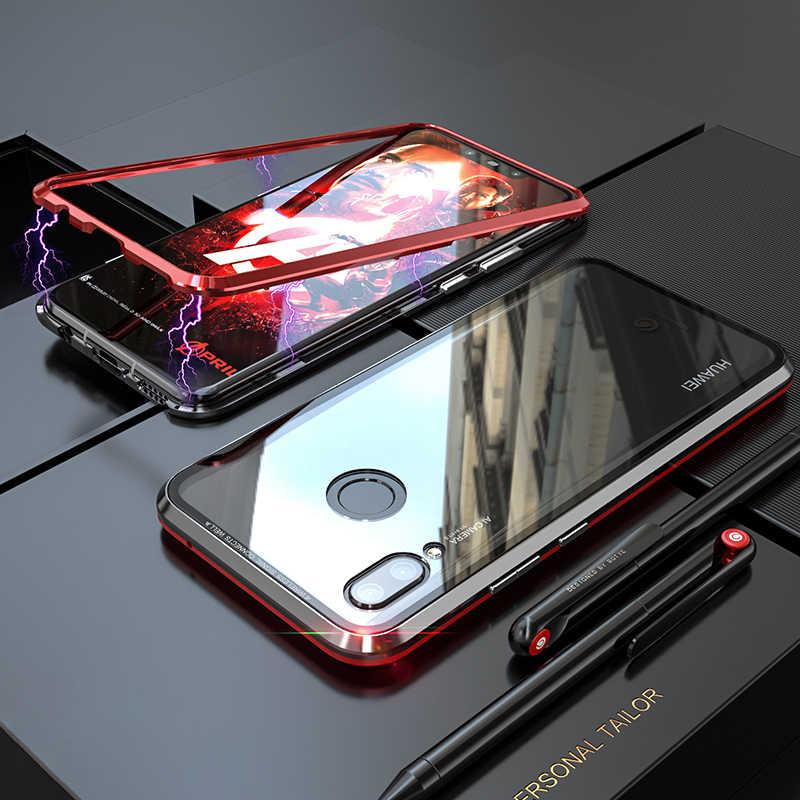 Carcasa magnética de Metal para Huawei P30 Pro Lite P20 Pro funda trasera de vidrio transparente con imán Huawei P30Lite 20 Pro 30 en