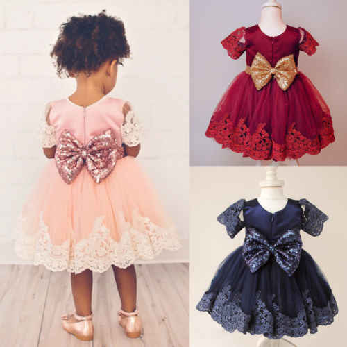 Pudcoco Newborn Baby Girl Dress Elegant Lace Floral Bowknot Dress Party Wedding Short Sleeve Solid Princess Dress Formal Clothes