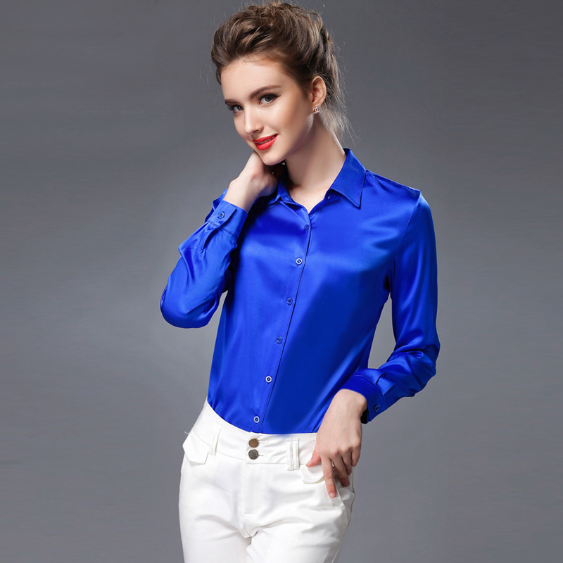 Silk Blouse Women Long Sleeve Work Brand Solid Office Lady Button