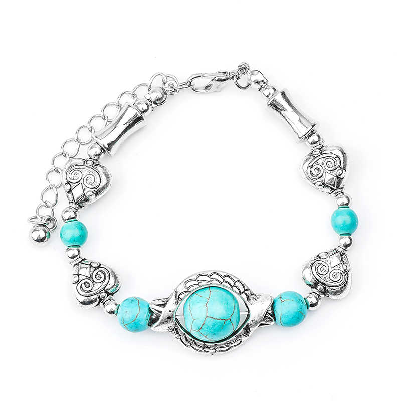 QCOOLJLY Wholesale 1pc New Bohemian 24cm Hot Heart Design Wonderful Lady Woman Natural Stone Bracelet