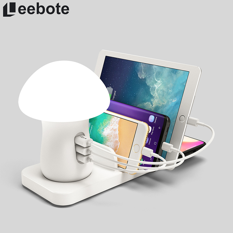 Leebote Multiple USB Phone Charger Mushroom Night Lamp Wireless Charging Station Dock QC 3.0 Quick Charger for Mobile Phones-in Mobile Phone Chargers from Cellphones & Telecommunications