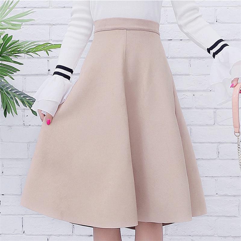 Neophil femmes daim taille haute Midi jupe 2019 hiver Vintage Style plissé dames une ligne noir Flare jupe Saia Femininas S1802