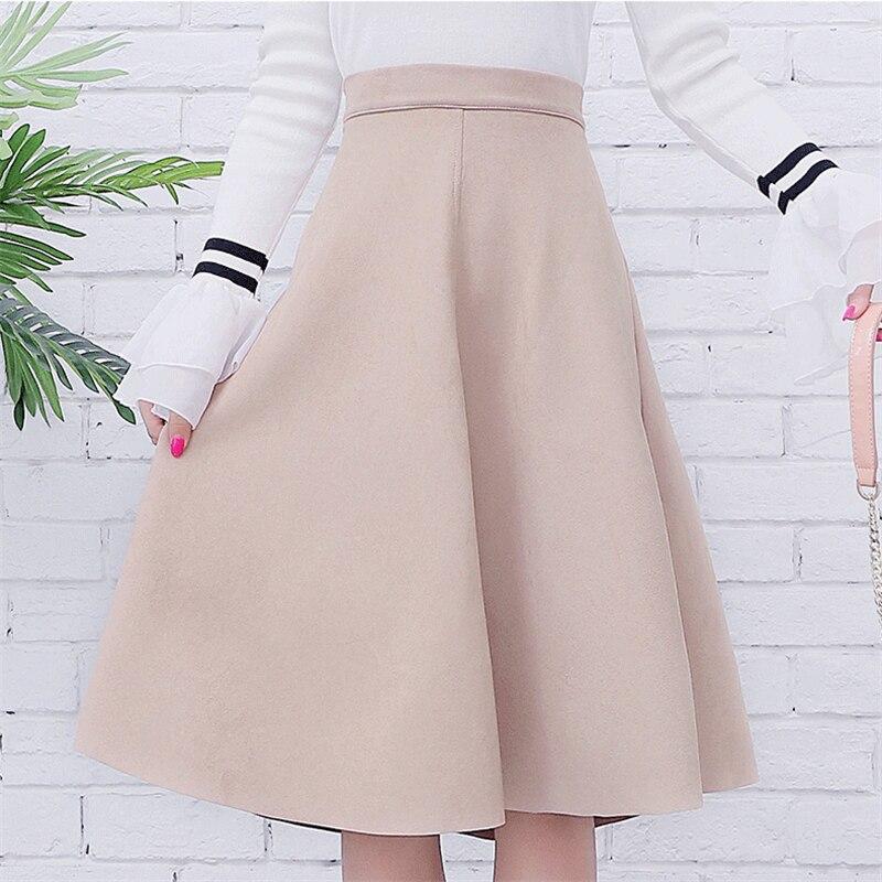 Neophil las mujeres de falda Midi de cintura alta de invierno de 2018 Estilo Vintage falda las damas un línea negro Flare falda Saia Femininas S1802