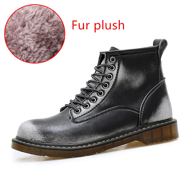 zeeohh High Quality Genuine Cowhide Lather Autumn Men Boots Winter Waterproof Ankle Boots  Outdoor Working Snow Boots Men