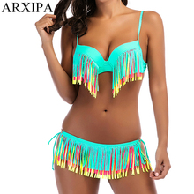 ARXIPA Rainbow Fringe Bikini Underwire Skirt Swimsuit Knot Molded Padded Swimwear Tassel Tie Bralette Bathing Suit Swimming Wear