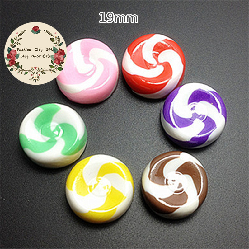 10pcs 19mm Kawaii Resin Simulation Swirl Candy Flatback Cabochon DIY Craft Scrapbooking
