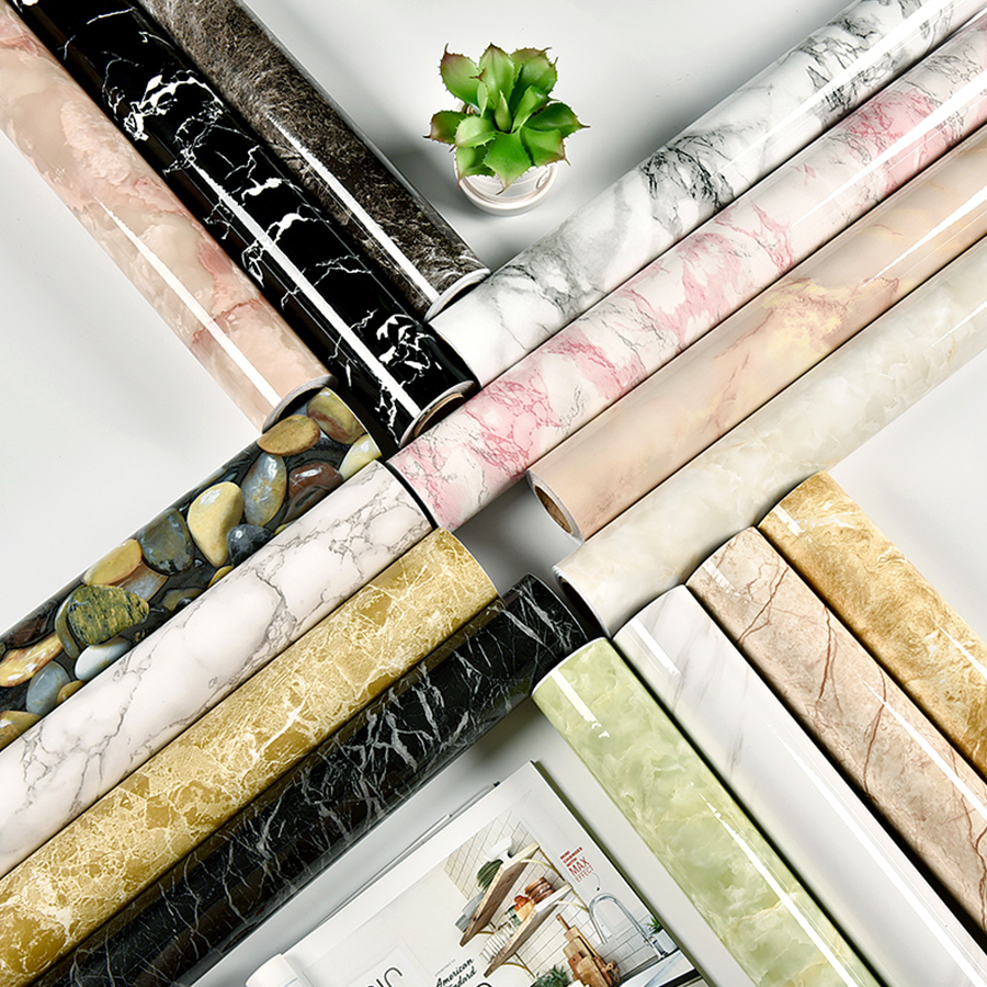 1M/2M Modern Living Room Furniture Desktop Waterproof Marble Wallpaper Vinyl Self Adhesive Contact Paper Solid Color Home Decor