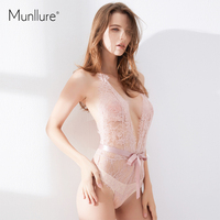 Munllure 2017 New Deep V Perspective Eyelashes Lace One Piece Sexy Body Sculpting Body Underwear Onesies