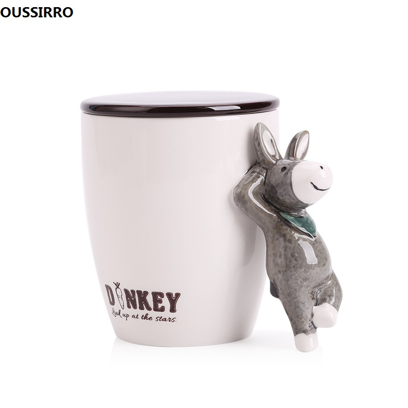 OUSSIRRO Creativity Animal Handle Ceramics Mug With Lid an Spoon Mugs Coffee Milk Tea Cups Novelty Gifts