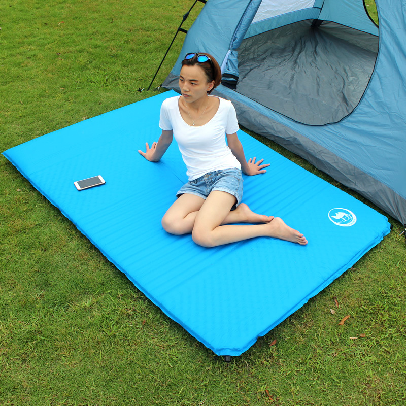 Outdoor Camping Mat Pad 2 Person Automatic Inflatable Mattress Picnic Tent Mat With Pillow hewolf outdoor 2 person automatic inflatable mattress cushion picnic mat inflating hiking camping travel beach moisture pad