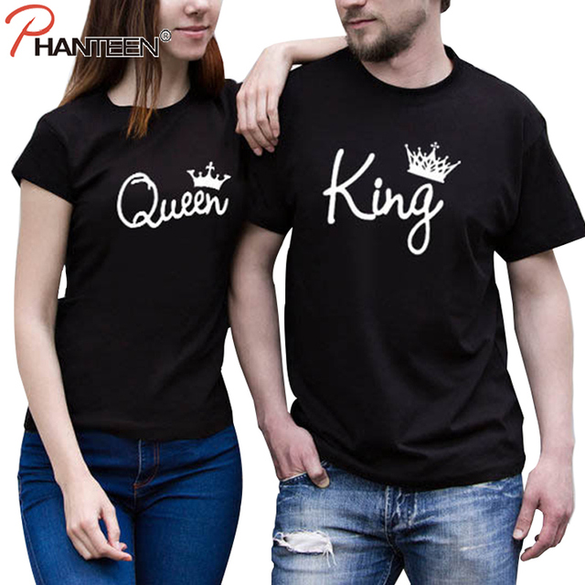 876fcac12a Phanteen King Queen Man Woman Lovers T Shirts Summer Short Sleeve Couple T- shirts Casual Top Tees Fashion Men Women Clothing