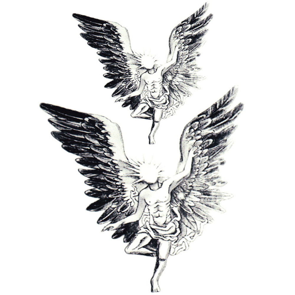 Yeeech Temporary Tattoos Sticker for Men Large Fake Sexy Cool Angel Wings Designs Arm Leg Neck Back Body Art Waterproof Makeup