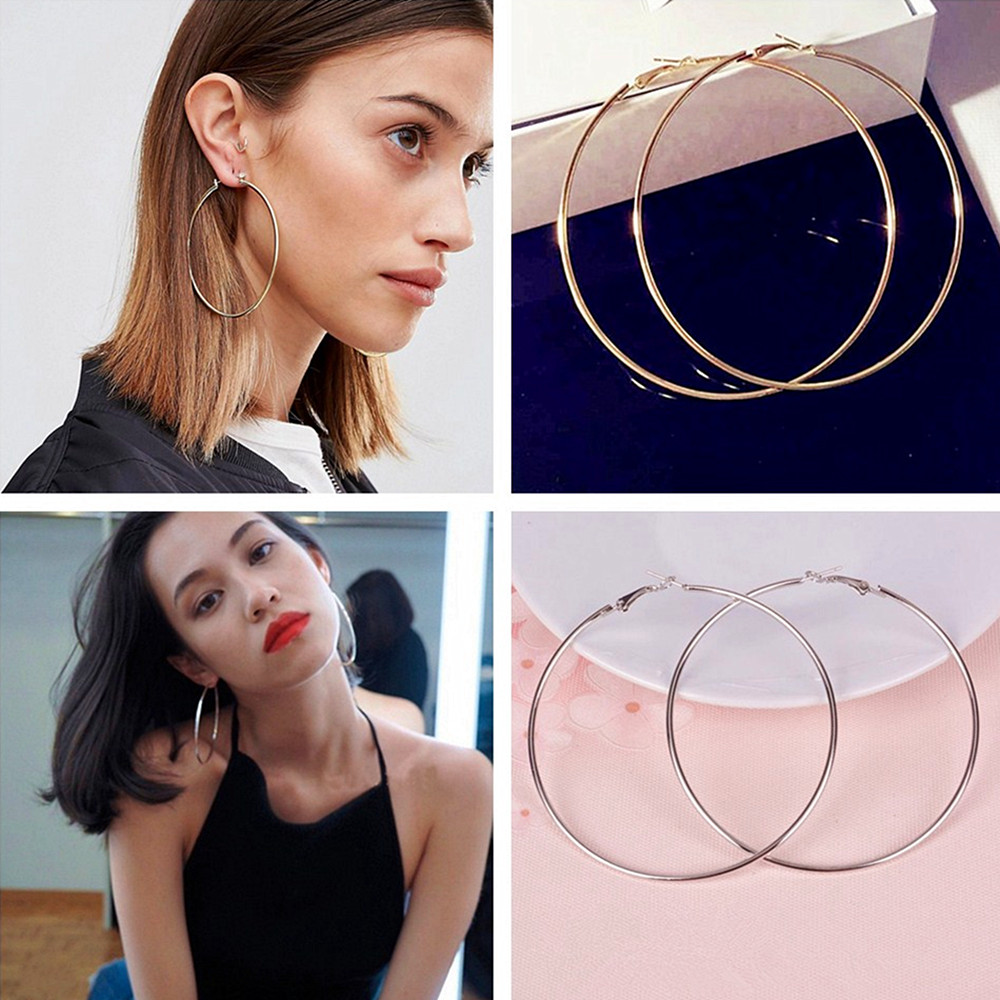Fashion New Style Women Girl Big metal Round Simple Large Earrings Patry Earring Jewelry 8CM and 10CM