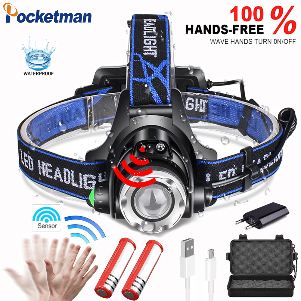 Sensor 15000 Lumen V6 LED Headlamp Fishing Headlight T6/L2 3 Modes Zoomable Waterproof Head Torch Flashlight Head Lamp Use 18650