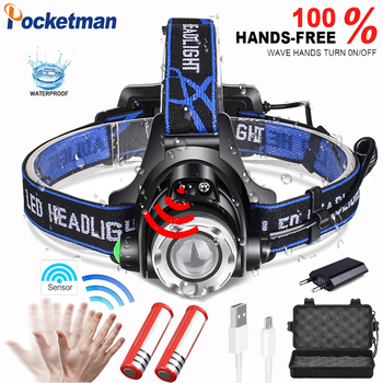 With Sensor Powerfull LED headlamp fishing headlight T6/L2 3 modes Zoomable Waterproof Head Torch flashlight Head lamp use 18650 led headlamp fishing headlight green light 5000 lumen xml t6 3 modes lamp waterproof head torch flashlight head lamp use 18650