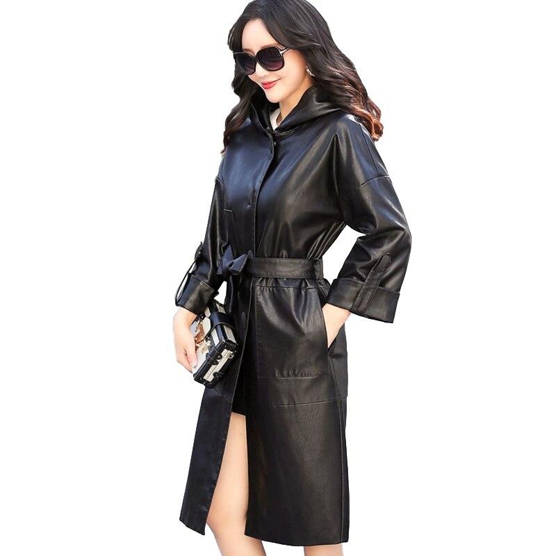 2018 new Autumn winter women's   leather   jacket Plus size Hooded Windbreaker Belt slim female Wild sheepskin coats IOQRCJV N230