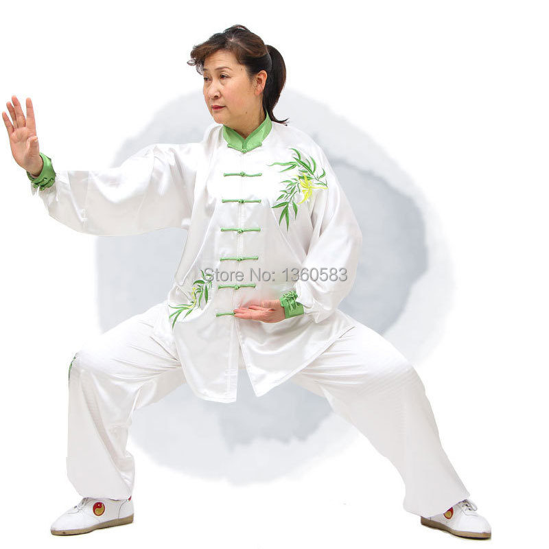 Custom Made tai chi suit Martial Arts Uniform SATIN Kung Fu clothing Wushu performance clothes Embroidery Bamboo leaves