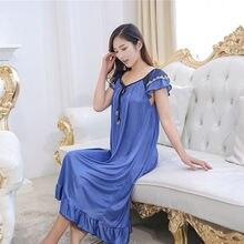 YINSILAIBEI Sexy Perspective Long Women s Sleepwear Female Faux Silk Satin Nightdress Plus Size Sexy Nightwear