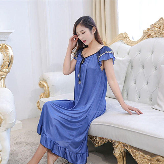 YINSILAIBEI Sexy Perspective Long Women s Sleepwear Female Faux Silk Satin  Nightdress Plus Size Sexy Nightwear for Ladies  0 a0423d7ed56d