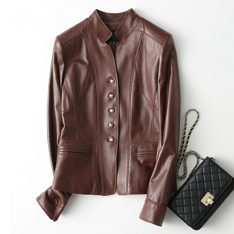Natural sheepskin   leather   jacket women single breasted stand collar real   leather   coat outerwear 2018 autumn winter plus size