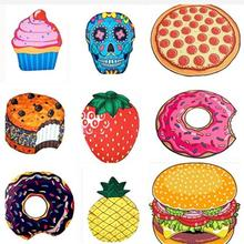 Round Beach Towel Donut Pizza Microfiber Towel Polyester Home Decoration Bath Towel