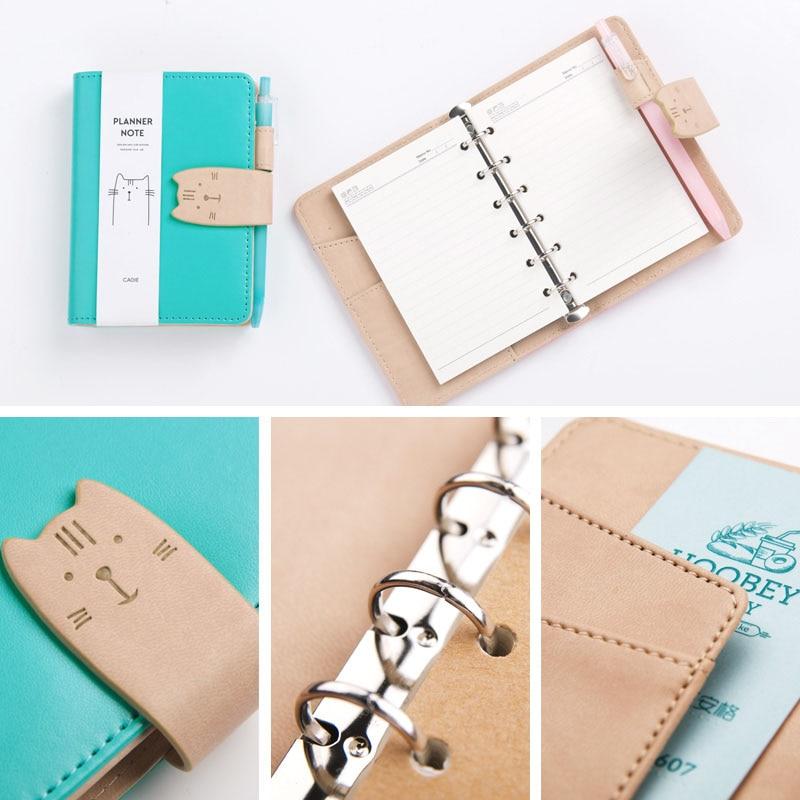 creative A7 portable kawaii cat leather loose leaf diary handbook binder spiral sketbook agenda notebook planner office  gifts dobson c french verb handbook
