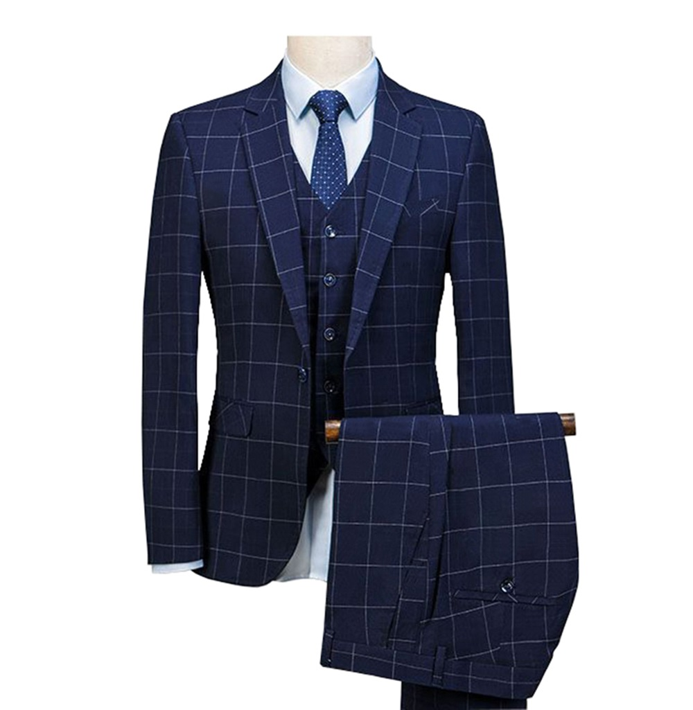 Men's plaid suit 3 Pieces Notched Shawl Lapel Blazer Suit Sets Formal Slim Fit Tuxedos Suit 2019 Royal Blue(Blazer +Vest+Pants)