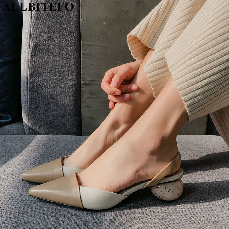 ALLBITEFO Women Sandals High-Heel-Shoes Genuine-Leather Summer Fashion Mixed-Colors Office