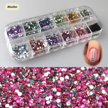 BlueZoo New 3600pcs 12 Mixed Colors 2mm Round Rhinestone For Nails Art Rhinestones Decoration Glitter Nail Art Gems Decoration