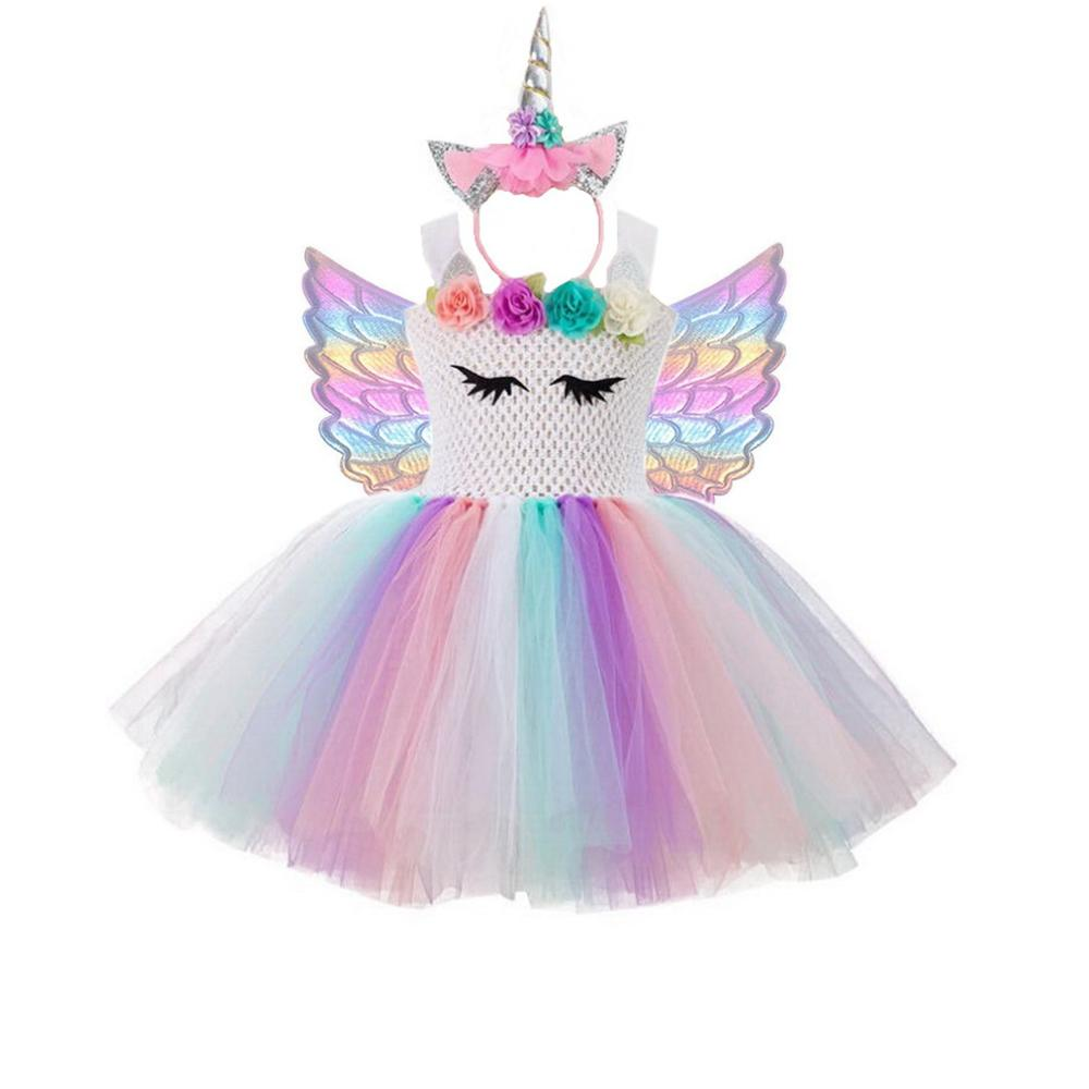 Girls Rainbow Unicorn Tutu Dress With Hair Hoop Wings Princess Flower Girl Party Dress Children Kids Halloween Unicorn Costume