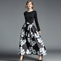 High Quality Party Sexy Long Dress Autumn Winter Women Printed O Neck Fashion 2018 Spring Designer