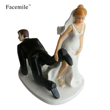 Facemile Bride and Groom Toppers Couple Figurine Wedding Funny Cake Topper for Wedding Cake Decoration Party