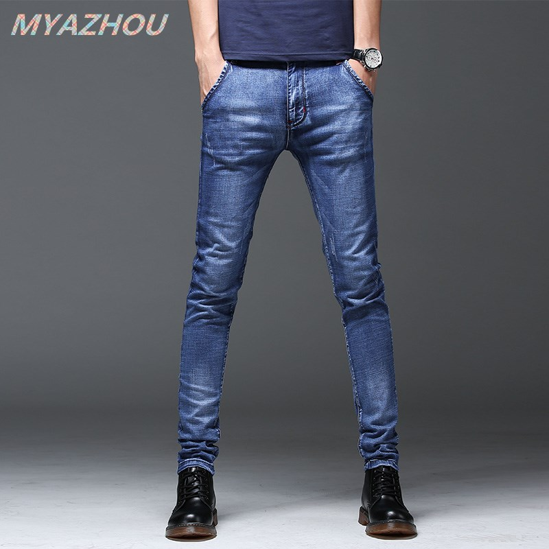 Brand New 2019 Men's Jeans Quality Men's Casual Slim Jeans Men's Brand Business Denim Trousers Men's Pencil Pants Tight Jeans