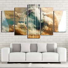 Canvas Painting Wall Art Home Decor Frame 5 Pieces Abstract Musical Instrument Guitar HD Printed Cloud Mist Landscape Pictures
