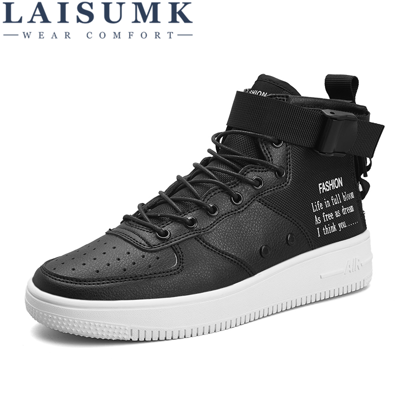 LAISUMK Men Casual Shoes Top Quality Pu Leather High Fashion Lace Up Breathable Hip Hop Red Black White
