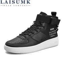 LAISUMK Men Casual Shoes Top Quality Pu Leather Men High Top Shoes Fashion Lace Up Breathable Hip Hop Shoes Men Red Black White brooks men s ravenna 6 shoes white high risk red black 12 d